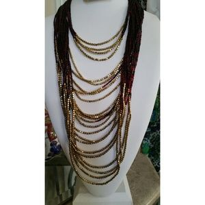 New layered Seed Bead Necklace 24 inches long